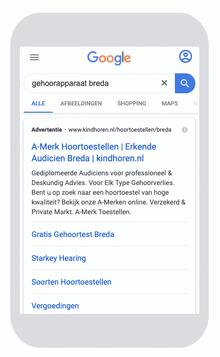 google-ads-ppc-voorbeeld-kind-breda