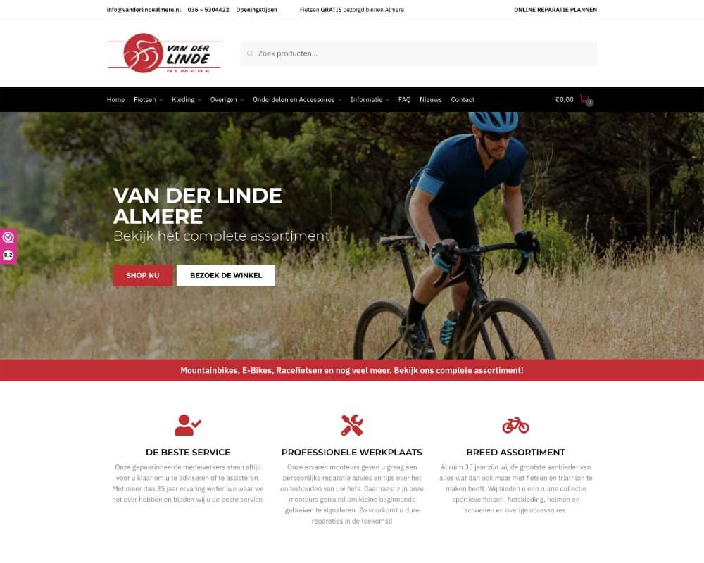 Woocommerce webshop ontwerp voor fietsenwinkel Van der Linde Almere.